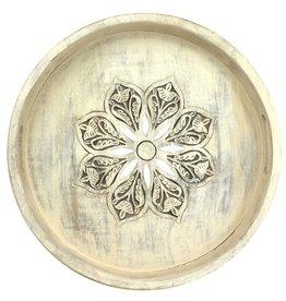 Mela Artisans Serena in Whitewash Round Tray, Large