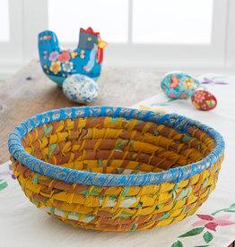 Serrv Round Gold Chindi Basket