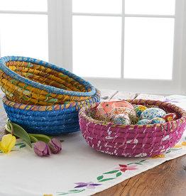 Serrv Round Indigo Chindi Basket
