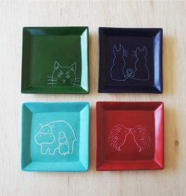 Venture Imports Square Animal Dishes - Peeking Cat
