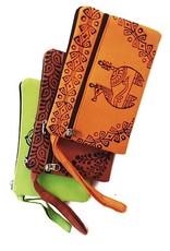 Bag block printed two zip clutch