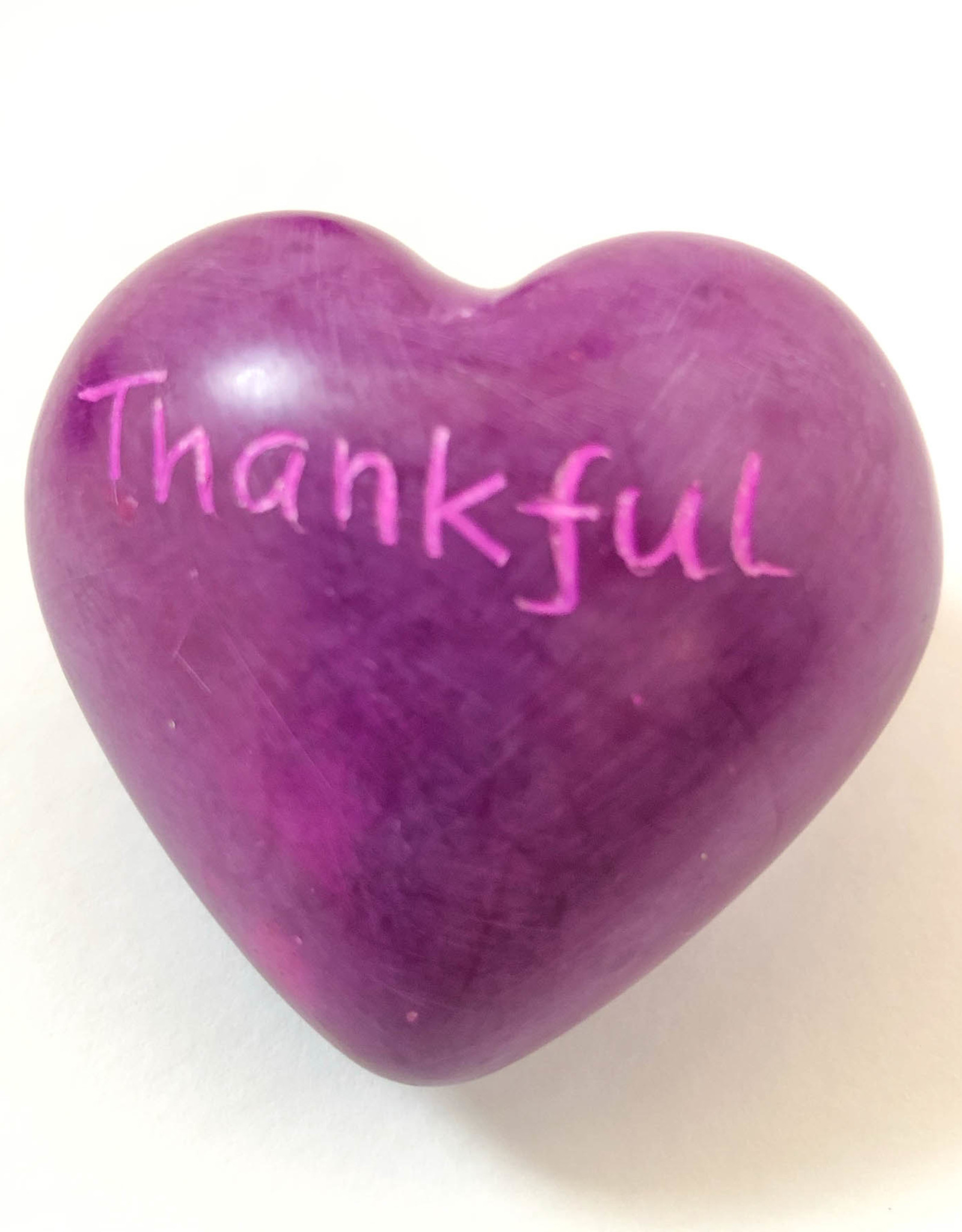 Venture Imports Word Hearts - Thankful, Pink