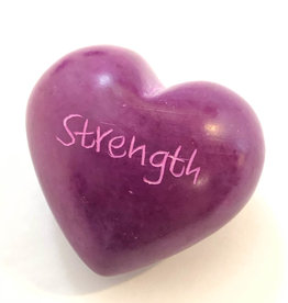 Venture Imports Word Hearts - Strength, Pink