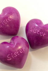 Venture Imports Word Hearts - Sister, Pink