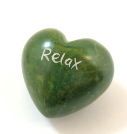 Venture Imports Word Hearts - Relax, Green
