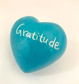 Venture Imports Word Hearts - Gratitude, Pale Blue