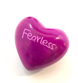 Venture Imports Word Hearts - Fearless, Pink