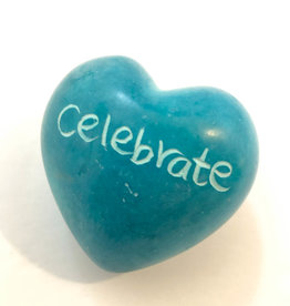 Venture Imports Word Hearts - Celebrate, Pale Blue