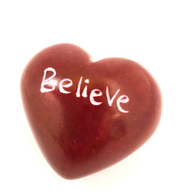 Venture Imports Word Hearts - Believe, Red