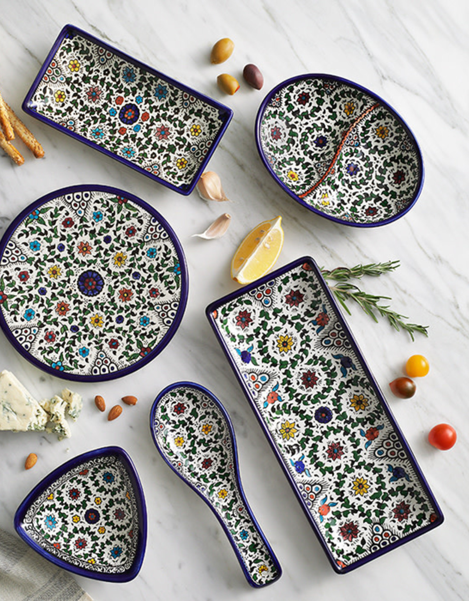 Serrv Blue West Bank Divided Dish
