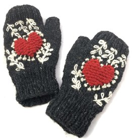 Fingerless Mittens with Embroidered Heart