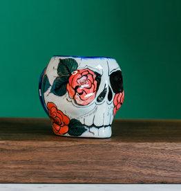 Lucia's Imports Rose Design Sugar Skull Skeleton Mug