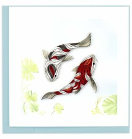 Quilling Card Quilled Two Koi Fish Greeting Card