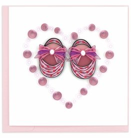 Quilling Card Quilled Pink Baby Booties Card