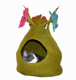 Dharma Dog Karma Cat Bouquet Cave, Green & Multi