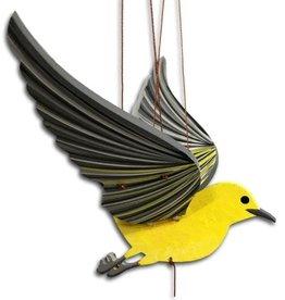 Tulia Artisans Yellow Warbler Bird Flying Mobile