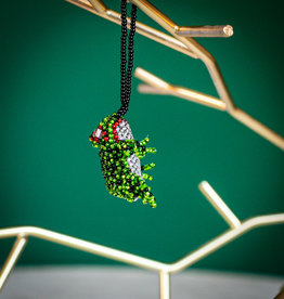 Lucia's Imports Santa Frog Beaded Ornament