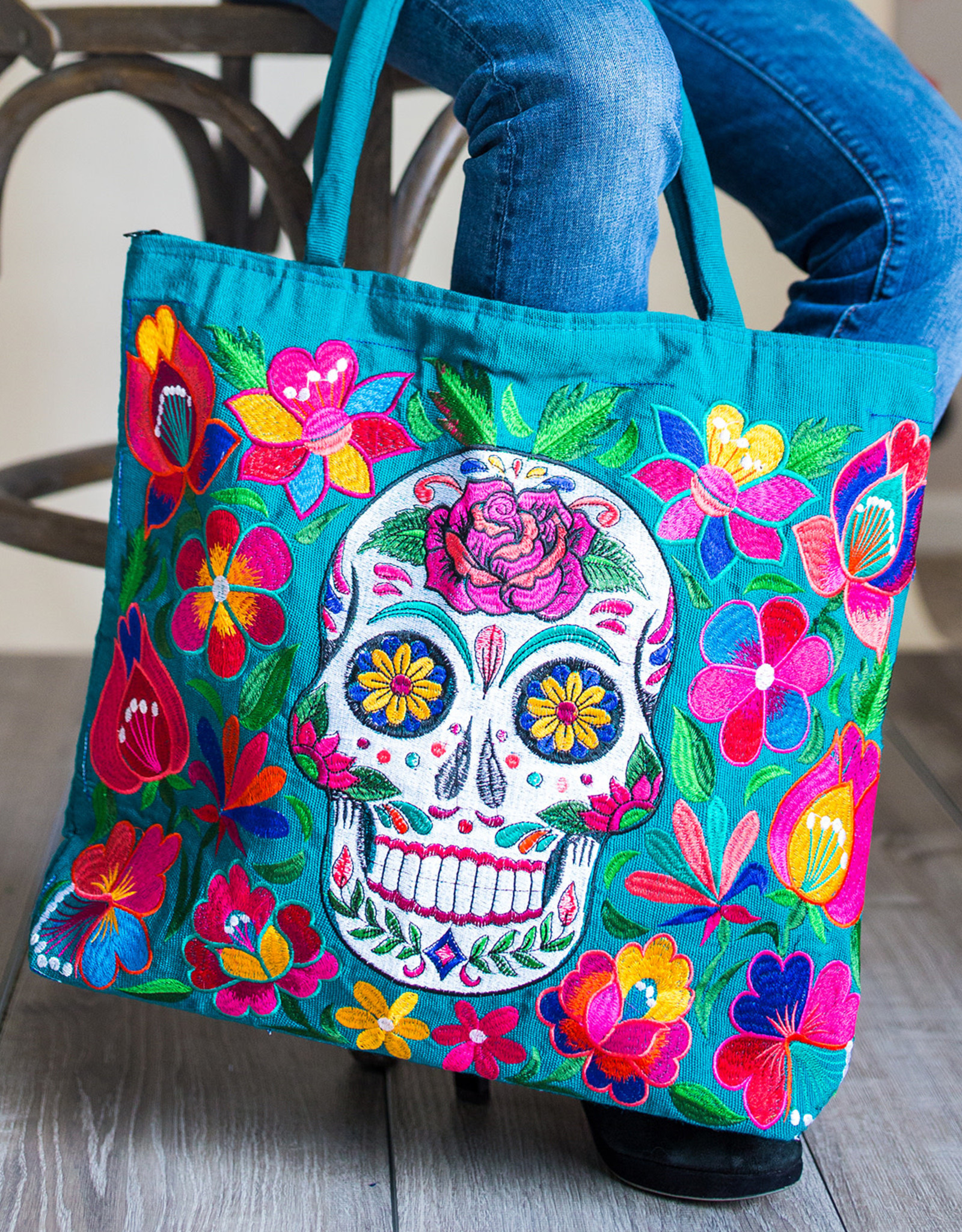 Lucia's Imports Sugar Skull Skeleton Embroidered Tote Bag