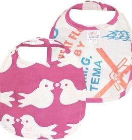 Global Mamas Babies Bib Birds Rose