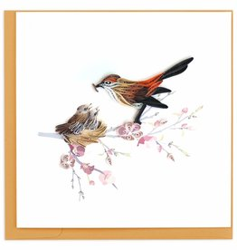 Quilling Card Quilled Mother Bird Feeding Babies Greeting Card