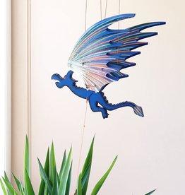 Tulia Artisans Small Blue Dragon Flying Mobile