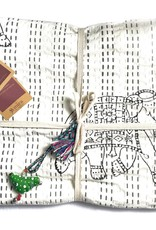 Mira Fair Trade Baby Block Printed Kantha Quilt - Elephant Print