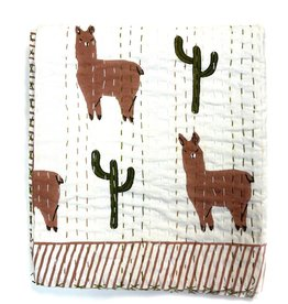 Mira Fair Trade Large Block Printed Kantha Quilt - Llama Print