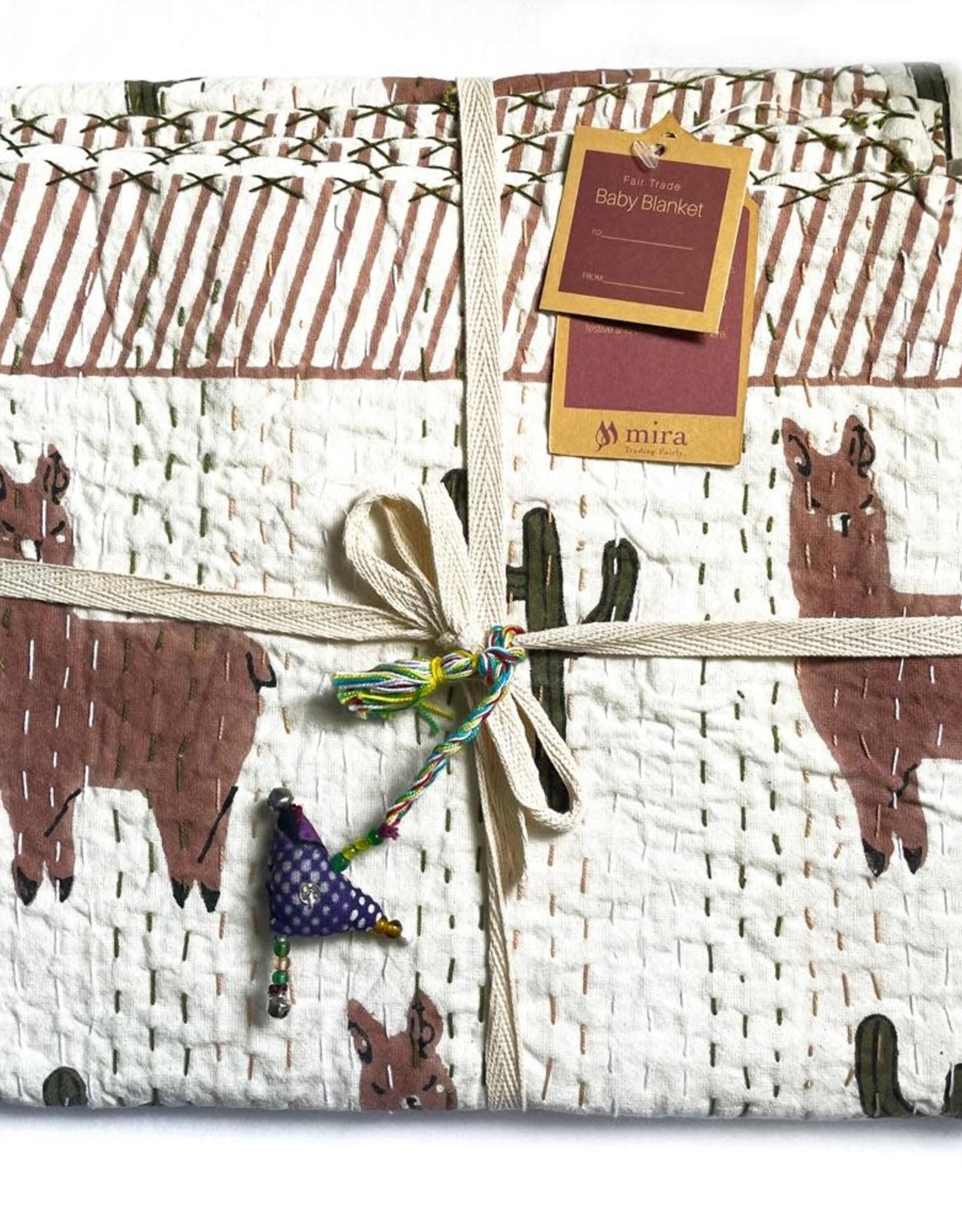 Mira Fair Trade Baby Block Printed Kantha Quilt - Llama Print