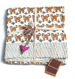 Mira Fair Trade Baby Block Printed Kantha Quilt - Tiger Print
