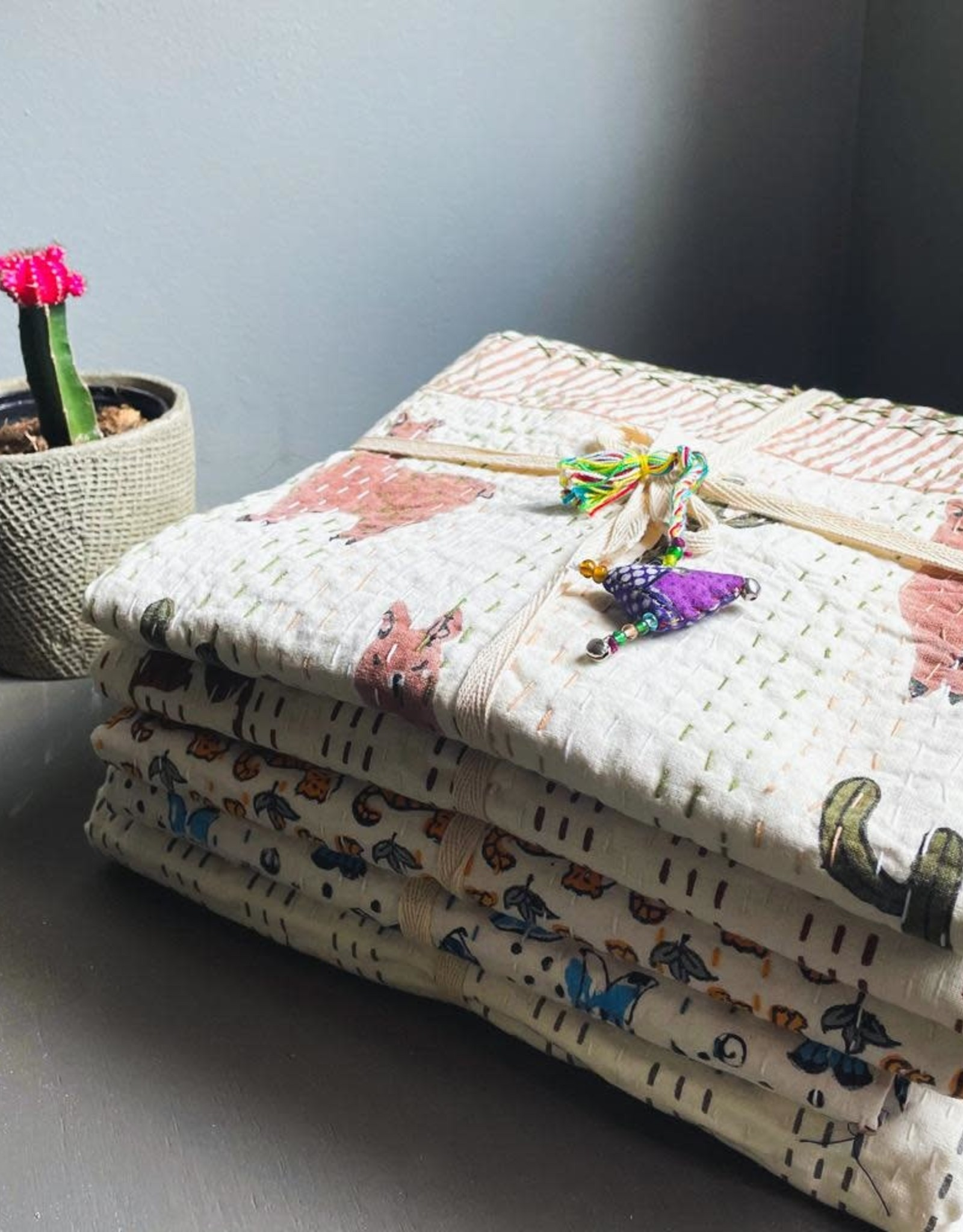 Mira Fair Trade Baby Block Printed Kantha Quilt - Tiger Print