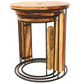 Swahili African Modern Set of Three Round Ghanaian Nesting Tables