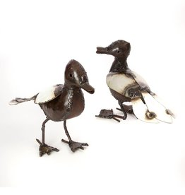 Swahili African Modern Recycled Metal Baby Duck Sculpture