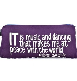 """Swahili African Modern Purple Music and Dancing 12"""" Mandela Pouch"""