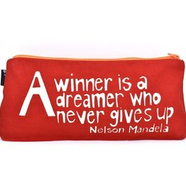 "Swahili African Modern Red A Winner is a Dreamer 12"" Mandela Pouch"