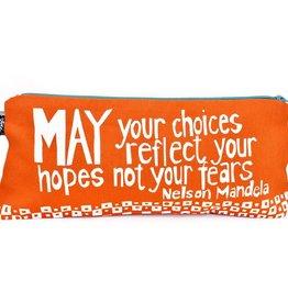 "Swahili African Modern Orange Reflect Your Hopes 12"" Mandela Pouch"