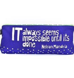 """Swahili African Modern Blue Impossible Until Done 12"""" Mandela Pouch"""