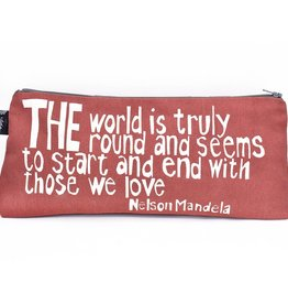 """Swahili African Modern Pink With Those We Love 12"""" Mandela Pouch"""