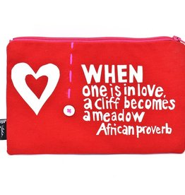 """Swahili African Modern Red When is One is in Love 8"""" African Proverb Pouch"""