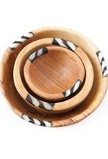 Swahili African Modern Batik Inlay Bowl - Medium