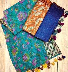 Sevya Handmade Silk Sari Kantha Scarf