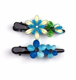 Quilling Card Blooming Blue Quilled Hair Clips