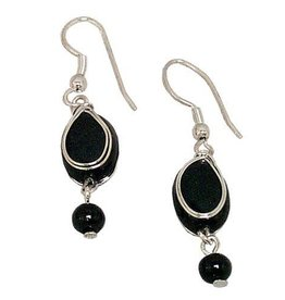 Ten Thousand Villages Black Oval Bead Earrings