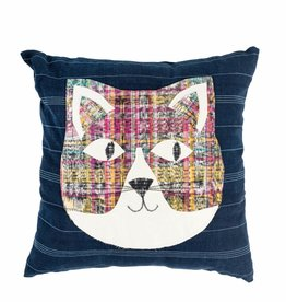 Ten Thousand Villages Heads or Tails Cat Pillow