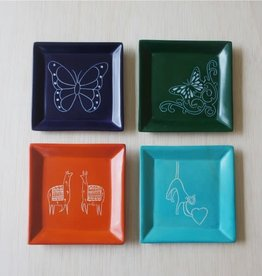 Venture Imports Square Animal Dishes -  Butterfly