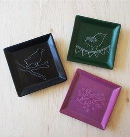 Venture Imports Square Bird Dish - Green