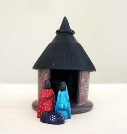 Venture Imports Hut Nativity, Colorful