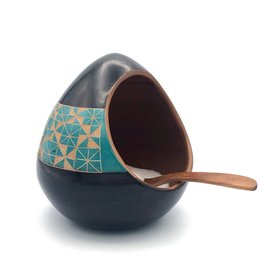 Women of the Cloud Forest Salt Cellar - Black with turquoise geometric