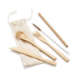 Serrv Bamboo Reusable Eating Utensils Set