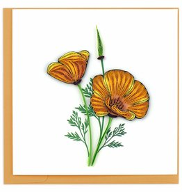 Quilling Card Quilled Yellow Poppies Greeting Card