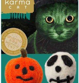 Dharma Dog Karma Cat Skull and Jack - O - Lantern Wool Cat Toy